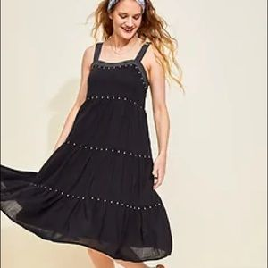 Old Navy Tiered Embroidered Midi Swing Dress